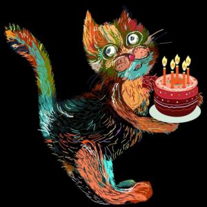 Cute cartoon cat with cake