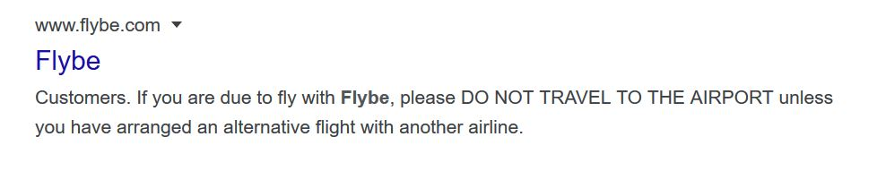 Flybe advising its customers after its demise